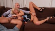 Hot blonde chick fucked with strap on dick